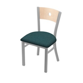 "630 Voltaire 18"" Chair with Anodized Nickel Finish, Natural Back, and Graph Tidal Seat"