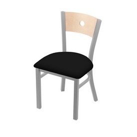 "630 Voltaire 18"" Chair with Anodized Nickel Finish, Natural Back, and Black Vinyl Seat"