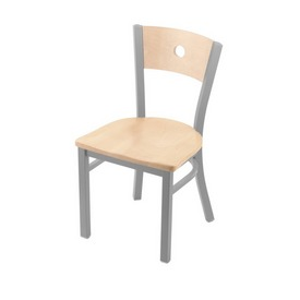 "630 Voltaire 18"" Chair with Anodized Nickel Finish, Natural Back, and Natural Maple Seat"