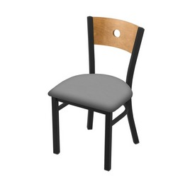 """630 Voltaire 18"""" Chair with Black Wrinkle Finish, Medium Back, and Canter Folkstone Grey Seat"""