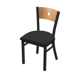 """630 Voltaire 18"""" Chair with Black Wrinkle Finish, Medium Back, and Graph Coal Seat"""