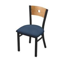"""630 Voltaire 18"""" Chair with Black Wrinkle Finish, Medium Back, and Rein Bay Seat"""