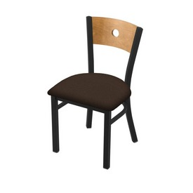 """630 Voltaire 18"""" Chair with Black Wrinkle Finish, Medium Back, and Rein Coffee Seat"""
