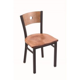 "630 Voltaire 18"" Chair with Black Wrinkle Finish, Medium Back, and Medium Maple Seat"