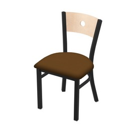 "630 Voltaire 18"" Chair with Black Wrinkle Finish, Natural Back, and Canter Thatch Seat"