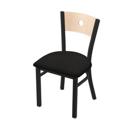 "630 Voltaire 18"" Chair with Black Wrinkle Finish, Natural Back, and Canter Espresso Seat"