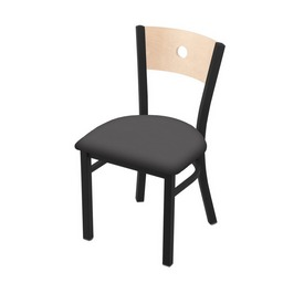 """630 Voltaire 18"""" Chair with Black Wrinkle Finish, Natural Back, and Canter Storm Seat"""