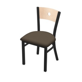 """630 Voltaire 18"""" Chair with Black Wrinkle Finish, Natural Back, and Canter Earth Seat"""