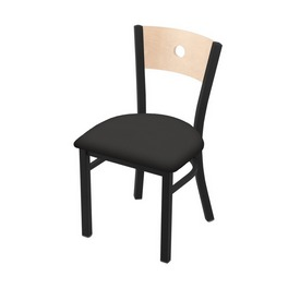 """630 Voltaire 18"""" Chair with Black Wrinkle Finish, Natural Back, and Canter Iron Seat"""