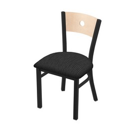 "630 Voltaire 18"" Chair with Black Wrinkle Finish, Natural Back, and Graph Coal Seat"