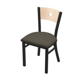 """630 Voltaire 18"""" Chair with Black Wrinkle Finish, Natural Back, and Graph Chalice Seat"""
