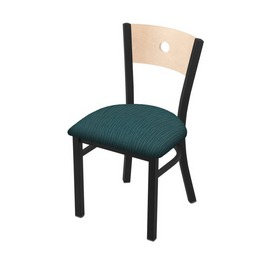 "630 Voltaire 18"" Chair with Black Wrinkle Finish, Natural Back, and Graph Tidal Seat"