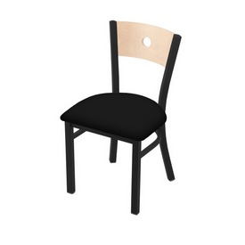 """630 Voltaire 18"""" Chair with Black Wrinkle Finish, Natural Back, and Black Vinyl Seat"""
