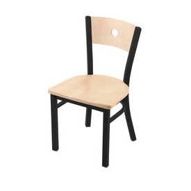 """630 Voltaire 18"""" Chair with Black Wrinkle Finish, Natural Back, and Natural Maple Seat"""