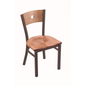 """630 Voltaire 18"""" Chair with Bronze Finish, Medium Back, and Medium Maple Seat"""