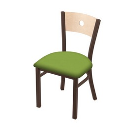 """630 Voltaire 18"""" Chair with Bronze Finish, Natural Back, and Canter Kiwi Green Seat"""