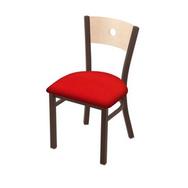 """630 Voltaire 18"""" Chair with Bronze Finish, Natural Back, and Canter Red Seat"""