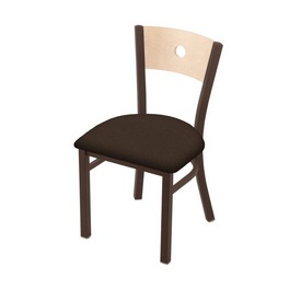 "630 Voltaire 18"" Chair with Bronze Finish, Natural Back, and Rein Coffee Seat"
