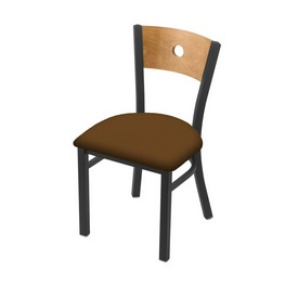 """630 Voltaire 18"""" Chair with Pewter Finish, Medium Back, and Canter Thatch Seat"""
