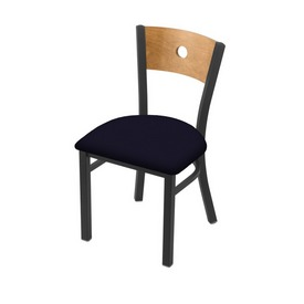 """630 Voltaire 18"""" Chair with Pewter Finish, Medium Back, and Canter Twilight Seat"""