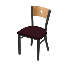 """630 Voltaire 18"""" Chair with Pewter Finish, Medium Back, and Canter Bordeaux Seat"""