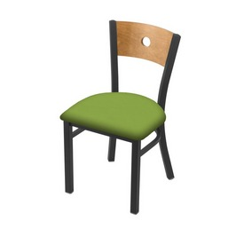 "630 Voltaire 18"" Chair with Pewter Finish, Medium Back, and Canter Kiwi Green Seat"
