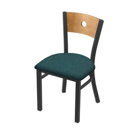 "630 Voltaire 18"" Chair with Pewter Finish, Medium Back, and Graph Tidal Seat"