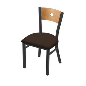 """630 Voltaire 18"""" Chair with Pewter Finish, Medium Back, and Rein Coffee Seat"""