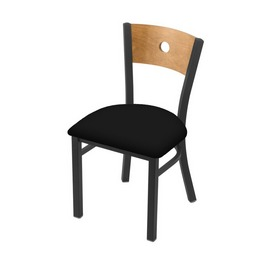 "630 Voltaire 18"" Chair with Pewter Finish, Medium Back, and Black Vinyl Seat"