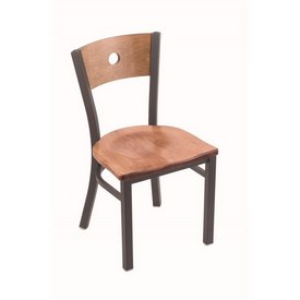 """630 Voltaire 18"""" Chair with Pewter Finish, Medium Back, and Medium Maple Seat"""