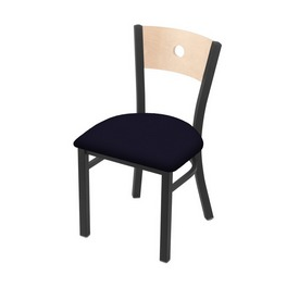 """630 Voltaire 18"""" Chair with Pewter Finish, Natural Back, and Canter Twilight Seat"""