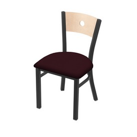 "630 Voltaire 18"" Chair with Pewter Finish, Natural Back, and Canter Bordeaux Seat"