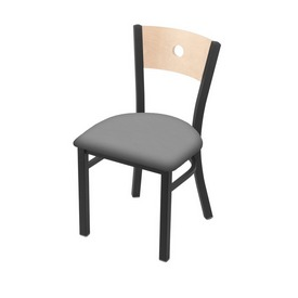 """630 Voltaire 18"""" Chair with Pewter Finish, Natural Back, and Canter Folkstone Grey Seat"""