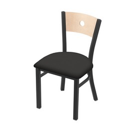"""630 Voltaire 18"""" Chair with Pewter Finish, Natural Back, and Canter Iron Seat"""