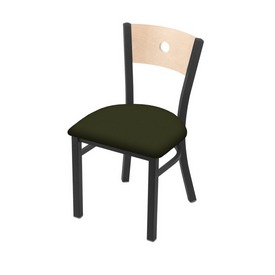 """630 Voltaire 18"""" Chair with Pewter Finish, Natural Back, and Canter Pine Seat"""