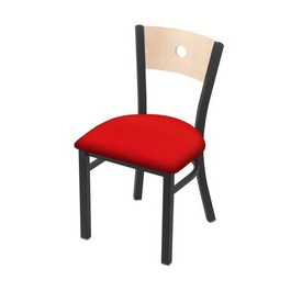 """630 Voltaire 18"""" Chair with Pewter Finish, Natural Back, and Canter Red Seat"""