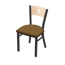 """630 Voltaire 18"""" Chair with Pewter Finish, Natural Back, and Canter Saddle Seat"""
