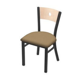 """630 Voltaire 18"""" Chair with Pewter Finish, Natural Back, and Canter Sand Seat"""