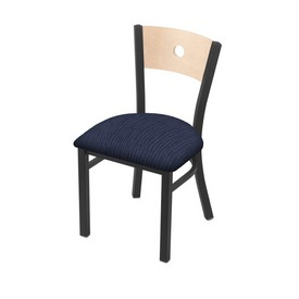 """630 Voltaire 18"""" Chair with Pewter Finish, Natural Back, and Graph Anchor Seat"""