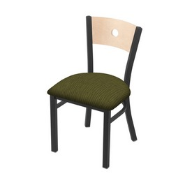 """630 Voltaire 18"""" Chair with Pewter Finish, Natural Back, and Graph Parrot Seat"""