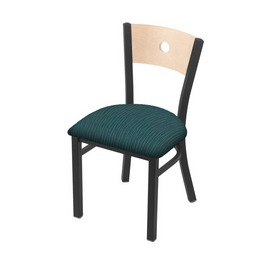 """630 Voltaire 18"""" Chair with Pewter Finish, Natural Back, and Graph Tidal Seat"""