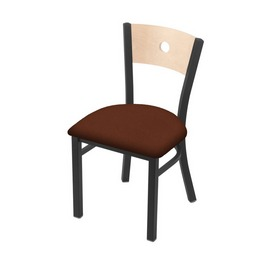 """630 Voltaire 18"""" Chair with Pewter Finish, Natural Back, and Rein Adobe Seat"""
