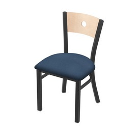 """630 Voltaire 18"""" Chair with Pewter Finish, Natural Back, and Rein Bay Seat"""
