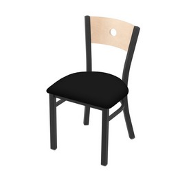 """630 Voltaire 18"""" Chair with Pewter Finish, Natural Back, and Black Vinyl Seat"""