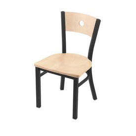 """630 Voltaire 18"""" Chair with Pewter Finish, Natural Back, and Natural Maple Seat"""