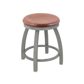 "802 Misha 18"" Swivel Vanity Stool with Anodized Nickel Finish and Medium Oak Seat"
