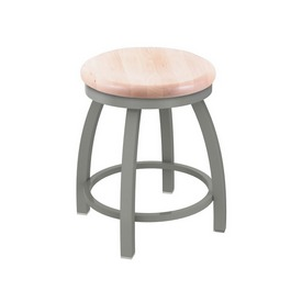 """802 Misha 18"""" Swivel Vanity Stool with Anodized Nickel Finish and Natural Maple Seat"""