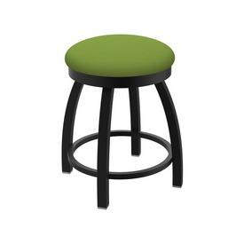 "802 Misha 18"" Swivel Vanity Stool with Black Wrinkle Finish and Canter Kiwi Green Seat"