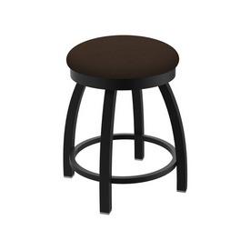 "802 Misha 18"" Swivel Vanity Stool with Black Wrinkle Finish and Rein Coffee Seat"