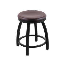 "802 Misha 18"" Swivel Vanity Stool with Black Wrinkle Finish and Dark Cherry Oak Seat"